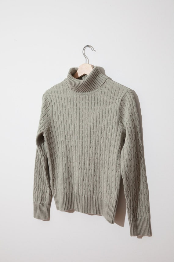 37a208c7671 vintage cable knit turtleneck sweater / laurel green mock neck / ribbed  cotton / minimalist / cropped / women / fits xs s