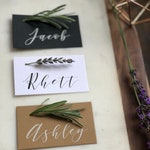 Printed Place Cards, Modern Calligraphy, Minimal, Greenery, Elegant, Classic Wedding, Flat Place Cards, set of 24