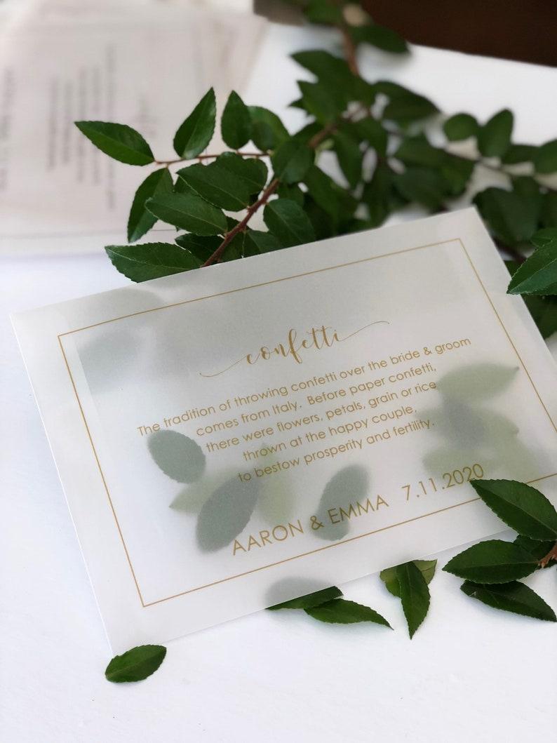 Vellum Confetti Envelope Natural Confetti Favor Wedding image 0