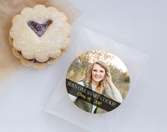 Personalized Graduation Stickers, One Smart Cookie, Graduation Photo Favors, Custom Cookie Seals, Cookie Labels, set of 24