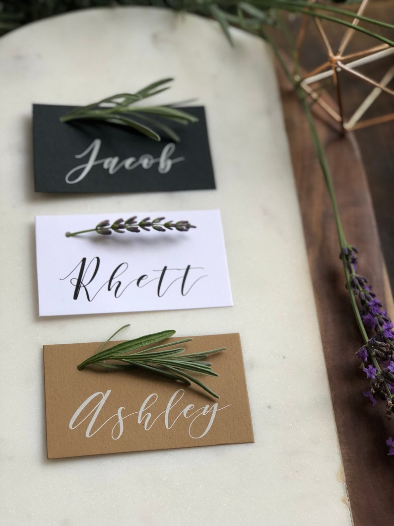 Printed Place Cards Modern Calligraphy Minimal Greenery image 0