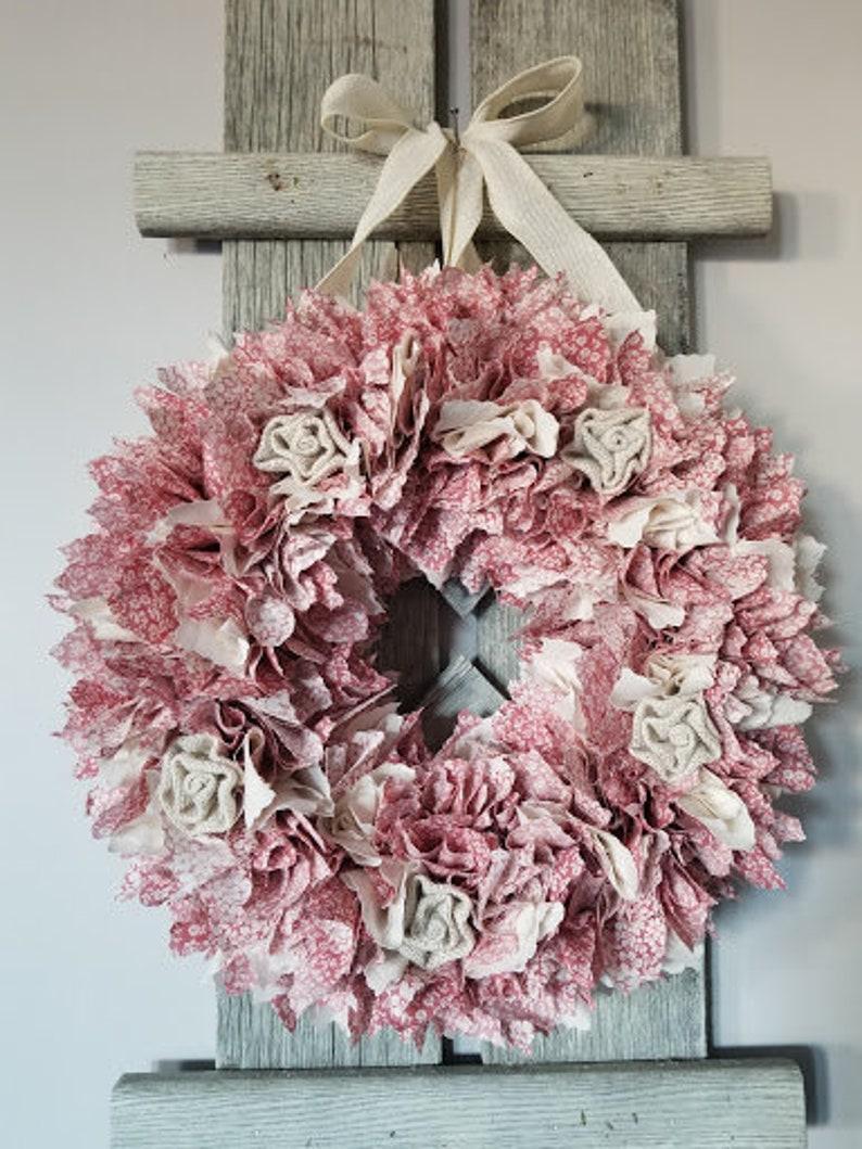 Fabric Wreath  Floral Fabric Wreath  Shabby Chic Wreath  Rag Wreath  Country Chic Wreath  Farmhouse Wreath  Burlap Embellished Wreath