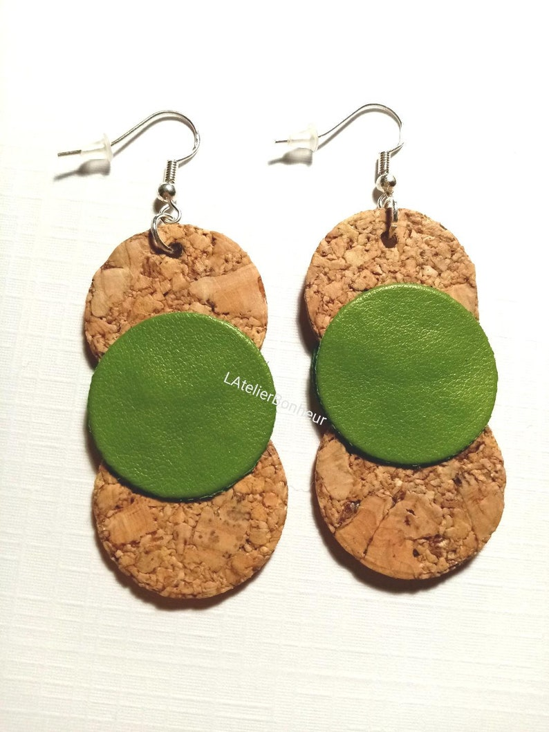 Cork and faux green leather earrings