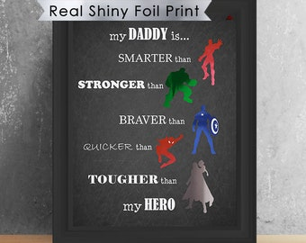 Marvel Avengers Dad Hero Print Wall Art Birthday Gift For Son Step Fathers Day From Kids