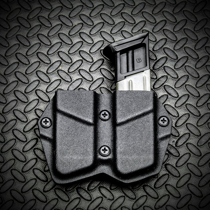 Ruger American 9mm 40SW Kydex OWB Double Magazine Holster Mag Carrier Pouch  Black