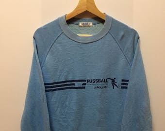 Vintage 90s Adidas Trifoil Fusball Crewneck Sweater Sweatshirt Pull Over Jacket