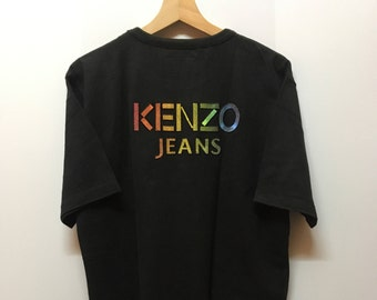 Vintage 90s Kenzo Jeans Multicolor Big Patch Logo Tee Tops Tshirt
