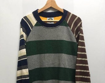 8bd0c2c4 Vintage 90s Barbarian Rugby Clothing Striped Multicolor Crewneck Sweater  Sweatshirt Pull Over Jacket