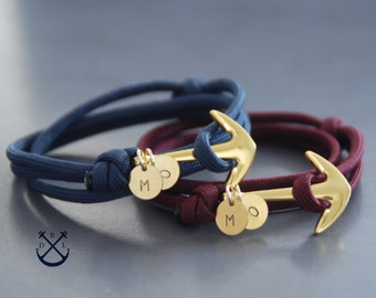 799cb6e55310 PERSONALISED His and Hers Gold ANCHOR Bracelets