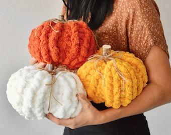 Hand Knit Chunky Chenille Yarn Pumpkin Fall Decor