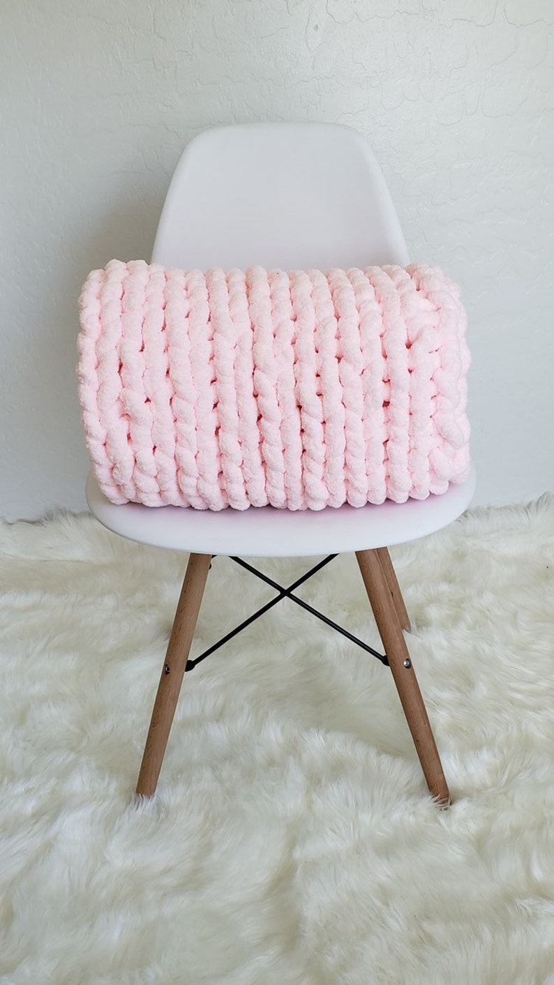 Made To Order Hand Knit Chunky Chenillie Yarn 35x45 Blanket Lap Throw
