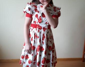 Girls dress, white dress, dress, floral dress, party dress, floral girls dress, vintage girls dress, girls summer dress, girls party dress