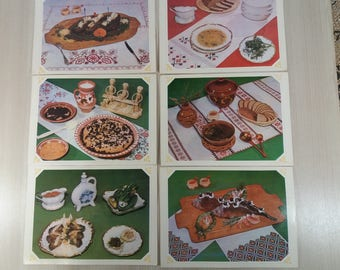 Set 15 postcards recipes Dishes of Ukrainian cuisine Recipe for cooking Soviet Postcards gifts for chefs