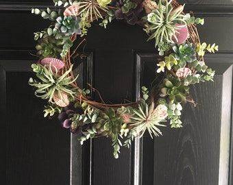 Summer Wreath/Succulent Wreath/Grapevine Wreath/Front Door Wreath/Beach Wreath/Everyday Wreath/Coastal Decor/Seashell Wreath/Beach Decor