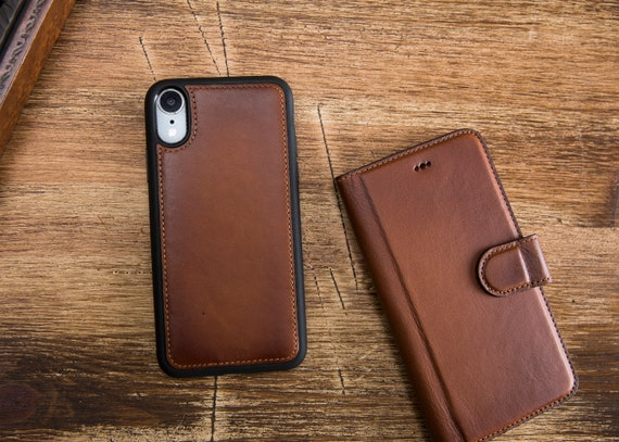 IPhone XR Leather Wallet Case iPhone XR Magnetic Detachabel | Etsy