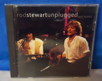 """042618 03 Used Rod Stewart """"Unplugged...and seated"""" CD Warner Bros 9 45289-2"""