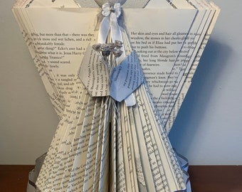 Angel with Rose Bouquet - Folded Book Art Sculpture
