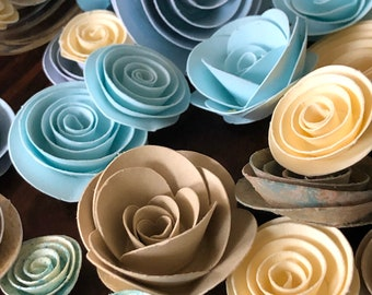 """Paper roses in the """"Under the Boardwalk"""" color theme for weddings, bridal showers, baby showers, home decor and more!"""