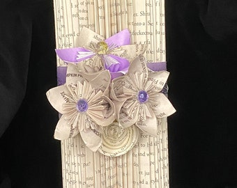 Purple and Silver Candle- Folded Book Art Sculpture