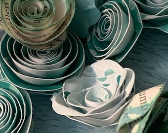 Paper Flowers in Teal for Weddings, Baby Showers, Bridal Showers, Home Decor and more!