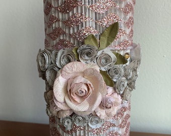 Pillar Candle- Pink Sparkles and Roses Folded Book Art Sculpture