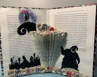 Jack and Sally - Nightmare Before Christmas Folded Silhouette Book Art Sculpture