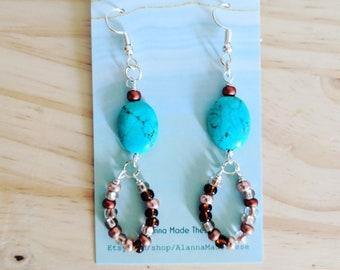 Copper droplets earrings