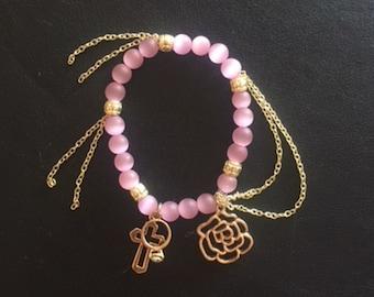 Pink and Gold Rose Charm Bracelet 2