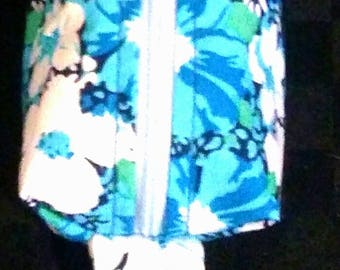 Blue floral Mini coin purse keyring