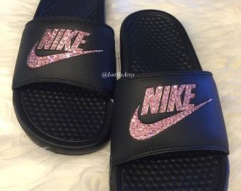 973ecfd63fd1e9 Nike Benassi Slides Made with SWAROVSKI® Crystals - Black Rose Gold