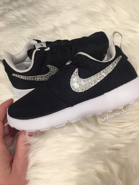 sale retailer d7f49 abc80 Girls Toddler Nike Roshe Made with SWAROVSKI® Crystals - Black/White