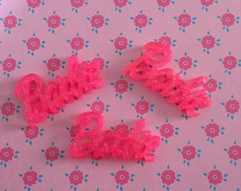 3, 5 or 10 pieces Barbie word/text flatback resin cabochon/embellishment/decoration - Glitter pink.