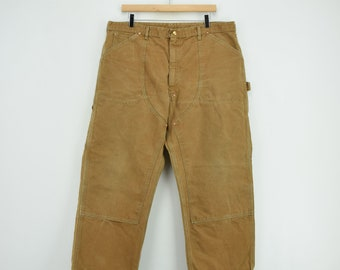3a36cce2 Vintage 70s Carhartt Carpenter Duck Canvas Utility Work Pant USA Made 36 W  28 L
