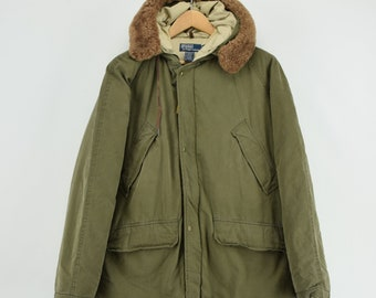 7b3cfb984 Ralph Lauren Polo Military Style Green Down Parka Jacket Shearling Trim Hood  M
