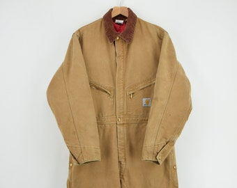 4d7bc57f1b Vintage Carhartt Workwear Coverall Duck Canvas Boiler Suit Made in USA 42R L