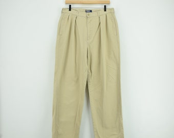 7d879e7f9 Vintage 80s Ralph Lauren Polo Pant Chinos Pleated Trousers Made in USA 32 W  32 L