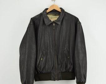 Vintage CHEVIGNON AIR lederen jas oude Flight Jacket   Etsy