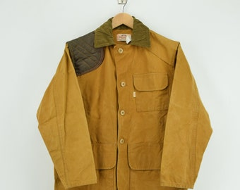 7673c061d6369 Vintage Saftbak Hunting Tan Brown Canvas Shooting Field Jacket Made in USA M