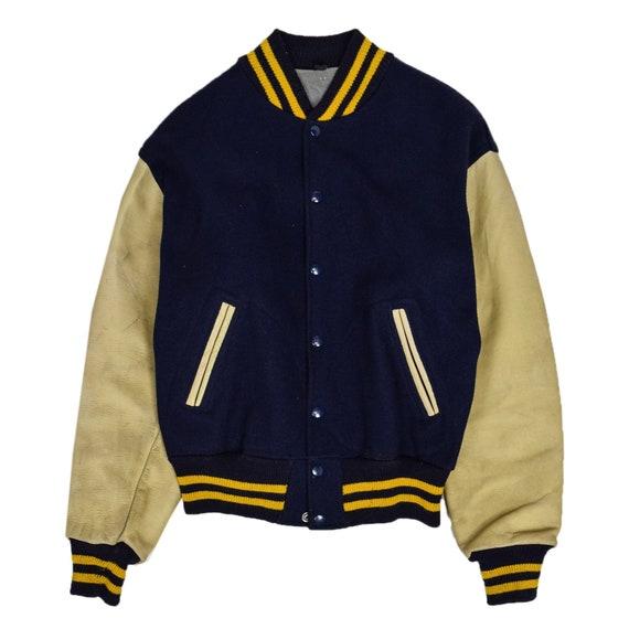 Vintage Union Made Blue Wool Leather Varsity Jacke