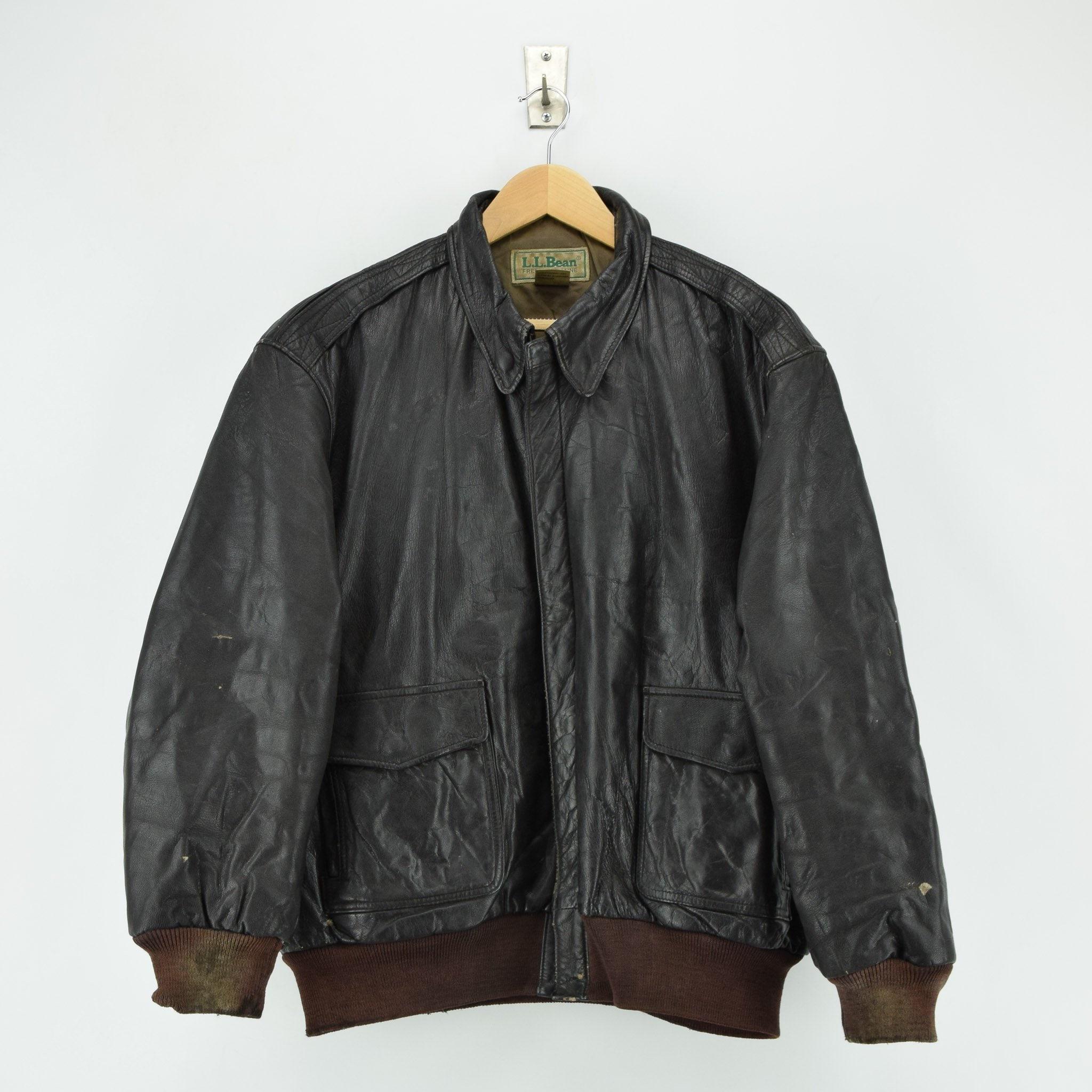 ee80ad60e Vintage LL Bean A-2 Brown Leather Flight Bomber Jacket USA Made Talon Zip XL