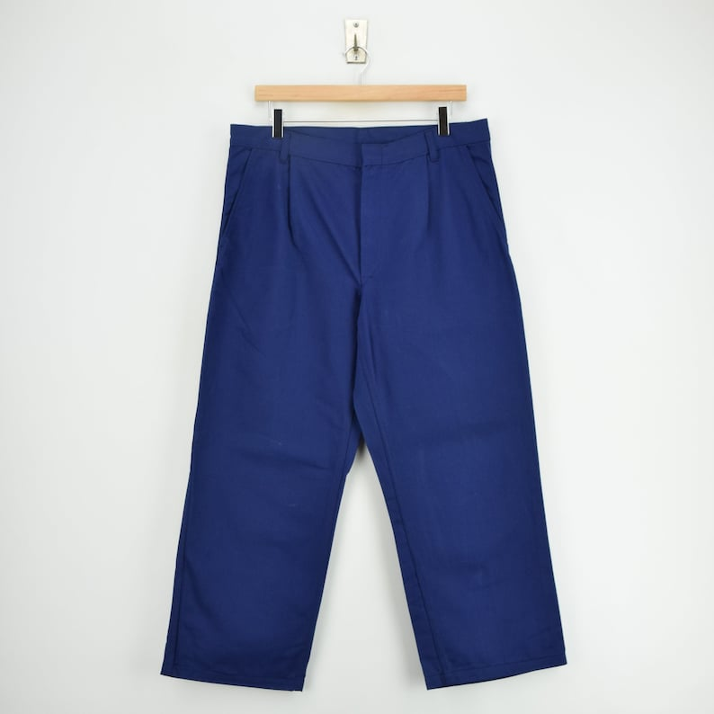 Vintage Workwear Blue French Style Work Utility Trousers Italy Made 32 W 25 L
