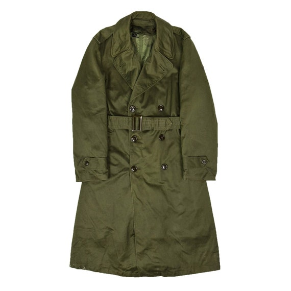 Vintage 50s Vietnam Era US Army OG-107 Long Trench