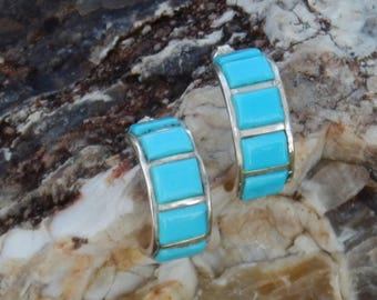 Sterling Silver Turquoise Native American Zuni Handmade Earrings