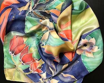 Exotic flowers scarf in dark blue