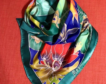 Exotic flowers silk scarf