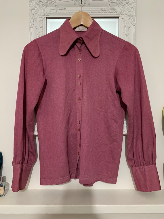 70's vintage blouse  shirt dark pink purple wester