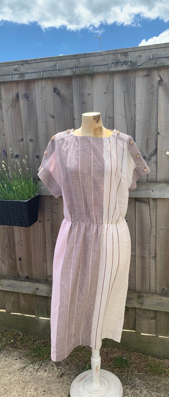 80s does 50's Shirt swing dress beige cheesecloth