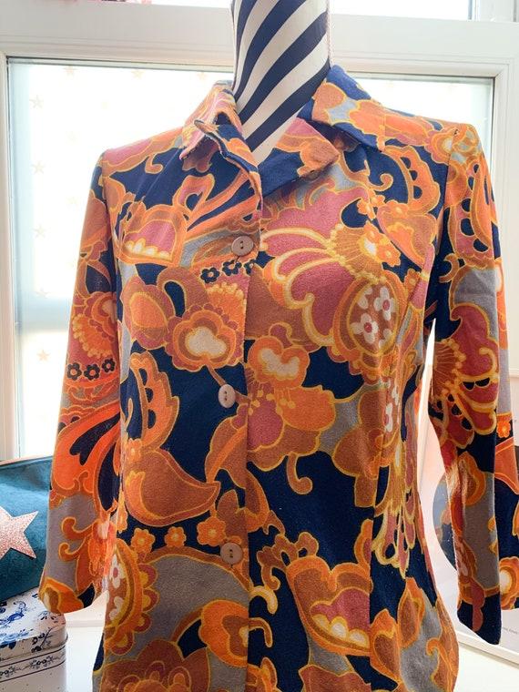 70's Vintage Blouse Shirt Japanese 1970's orange f