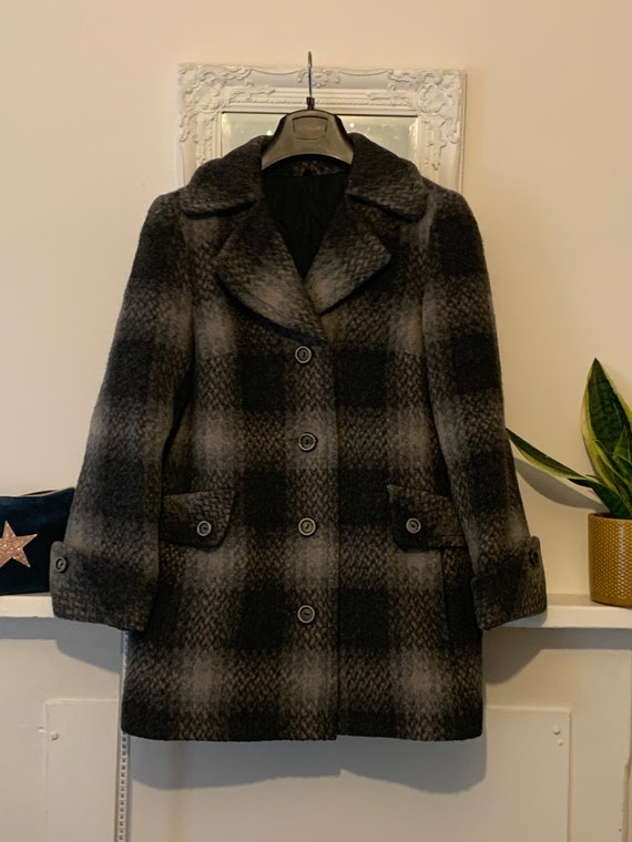 70s Black and grey check Wool and mohair Coat - wa