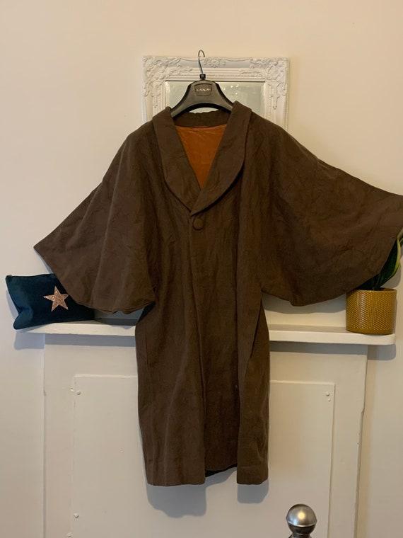 70s brown Kimono Sleeve Wool Coat - midi length Br